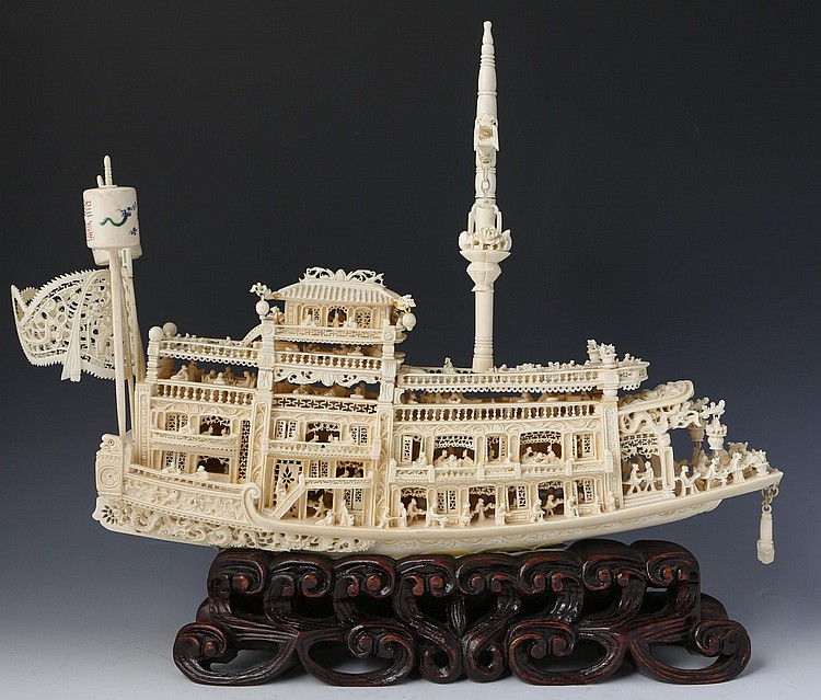 LATE 19TH C CHINESE CARVED IVORY BOAT