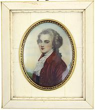 EUROPEAN MINIATURE PORTRAIT OF GENTLEMAN TO IVORY