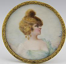 EUROPEAN MINIATURE IVORY PORTRAIT OF WOMAN