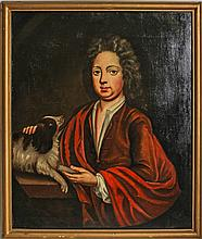 18TH CENTURY PORTRAIT OF BOY WITH DOG
