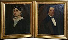 PAIR AMERICAN SCHOOL PORTRAITS MAN & WOMAN 19TH C
