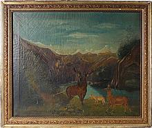 19TH CENTURY A GEBAUER LANDSCAPE OIL ON CANVAS