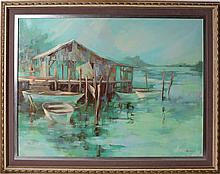GEORGE BURROWS HARBOR SCENE OIL ON CANVAS