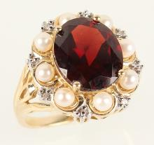 14K YELLOW GOLD GARNET PEARL AND DIAMOND RING