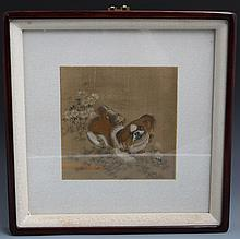 CHINESE FRAMED WATERCOLOR ON SILK PEKINESE