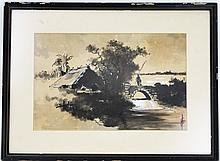 JAPANESE PAINTING TO SILK FISHERMAN