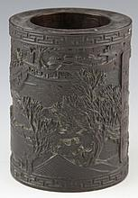 CHINESE CARVED WOOD BRUSH POT NAUTICAL