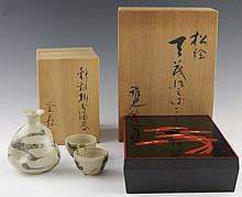 JAPANESE SAKE SET & LACQUERED BENTO BOX