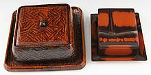 (2) JAPANESE LACQUERWARE BENTO BOXES WITH TRAYS