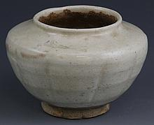 CHINESE EARTHENWARE BOWL WITH WHITE GLAZE