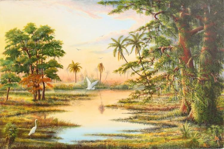 J. BARNHILL FLORIDA SUNSET WETLAND OIL ON CANVAS