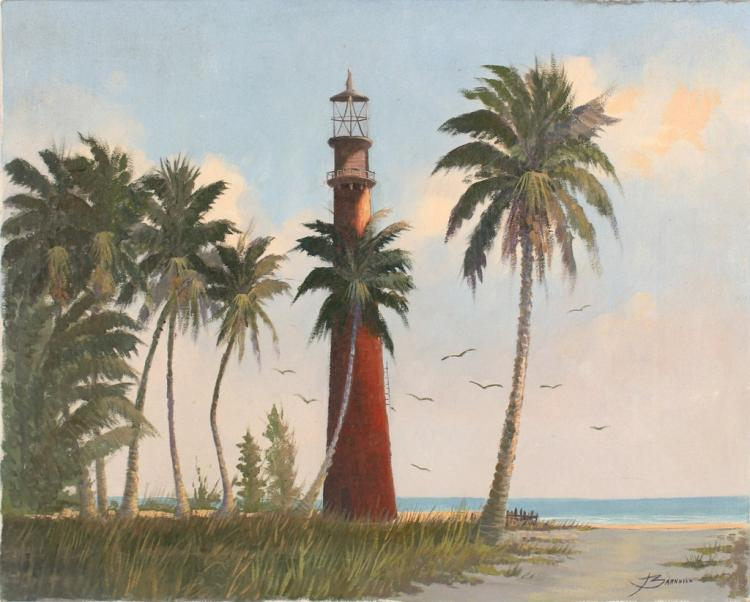 J. BARNHILL FLORIDA LIGHTHOUSE BEACH OIL ON CANVAS