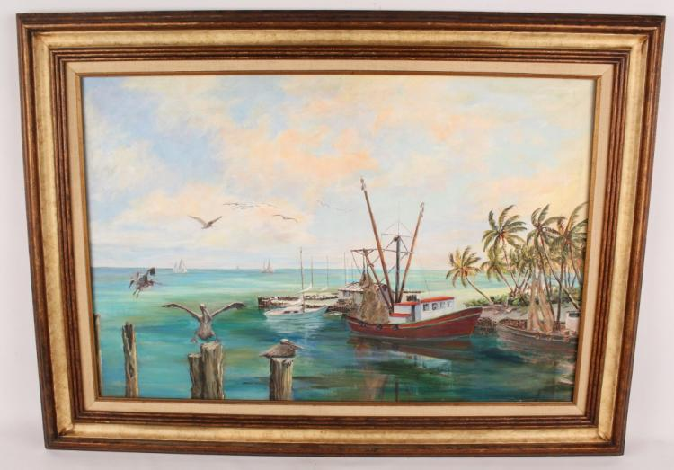 J. BARNHILL FL KEY WEST SHRIMP BOAT OIL ON CANVAS