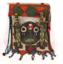 AFRICAN BEADWORK HANGING WALL PANEL KNIFE SET