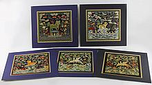 (5) CHINESE EMBROIDERY SQUARES ANIMAL MOTIFS