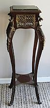 CARVED WOOD & MARBLE PLANT STAND