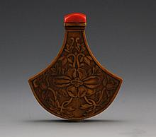 BAMBOO VENEER SNUFF BOTTLE WITH CORAL LID