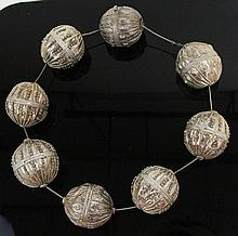 ANTIQUE BEDOUIN SILVER BEADED NECKLACE