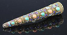 CHINESE VERMEIL CLOISONNE NAIL GUARD PIN / BROOCH