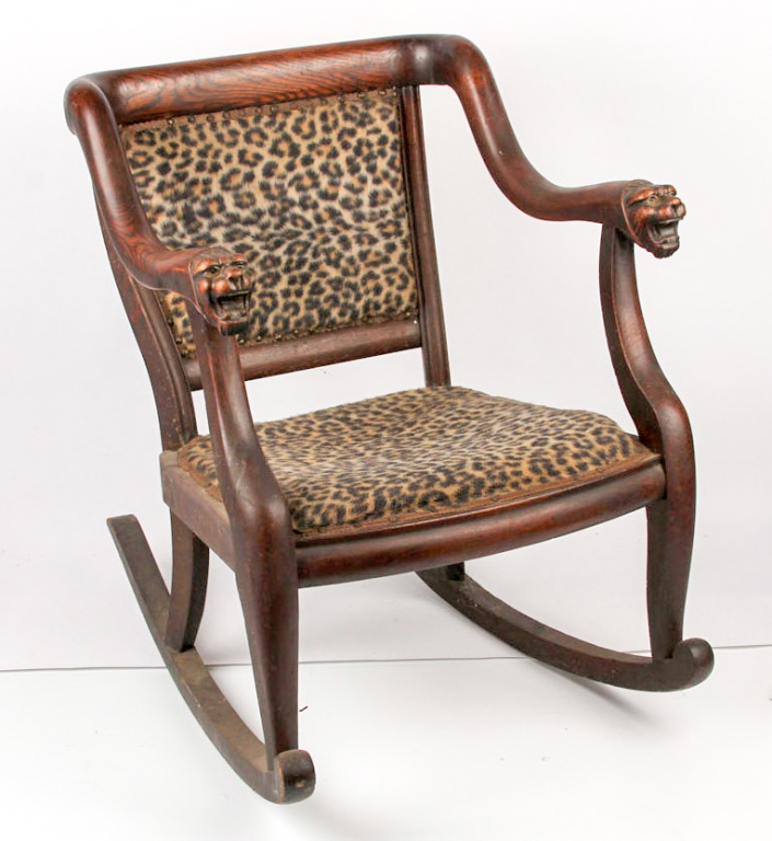 Incroyable Lot 74291: EARLY 20TH C. LEOPARD PRINT OAK ROCKING CHAIR