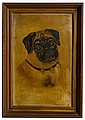 PORTRAIT OF PUG OIL ON BOARD