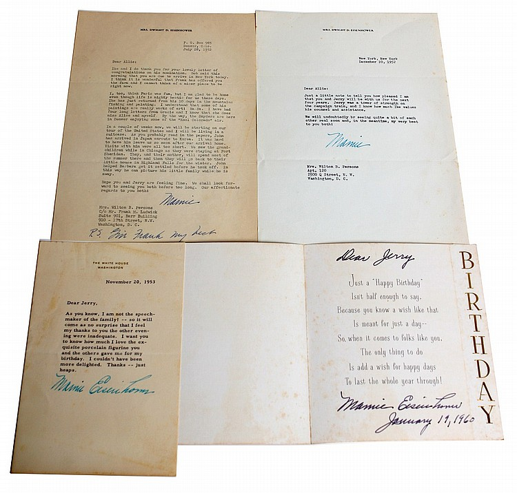 MAMIE EISENHOWER FIRST LADY SIGNED LETTERS