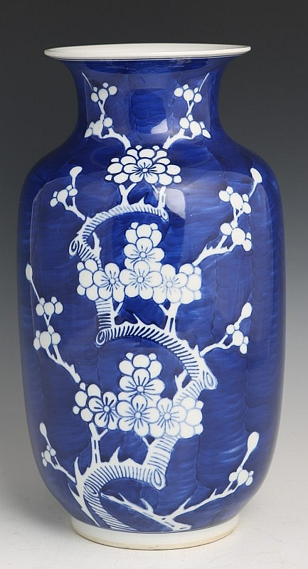 LARGE CHINESE BLUE & WHITE VASE PLUM JINGDEZHEN