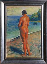 PIERRE DIONISI WATERCOLOR NUDE FEMALE ON SHORE