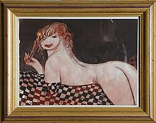 NUDE FEMALE GUAUCHE FRAMED