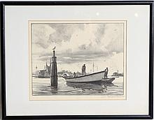 GORDON BRANT SIGNED ORIGINAL LITHOGRAPH OF BOAT