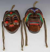 PAIR OF REPRODUCTION HAHOE THEATRICAL DANCE MASKS