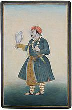 MUGHAL SCHOOL MINIATURE PAINTING PRINCE W/ FALCON