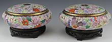 PAIR OF JAPANESE CLOISONNE CONSOLE BOWLS