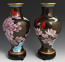 PAIR OF CLOISONNE FLORAL MOTIF VASES WITH BASES