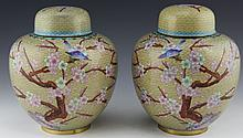 PAIR OF BEIGE CLOISONNE FLORAL MOTIF GINGER JARS