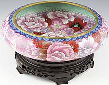 CHINESE CLOISONNE CONSOLE BOWL WITH WOODEN STAND