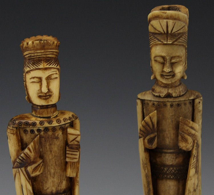 Pair Of Chinese Bone Carved Empress Figurines