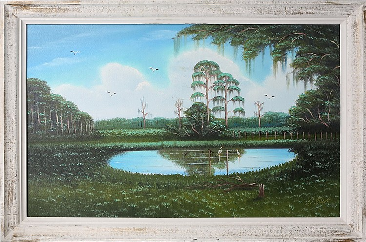 AL BLACK FLORIDA HIGHWAYMEN LARGE WETLAND SCENE