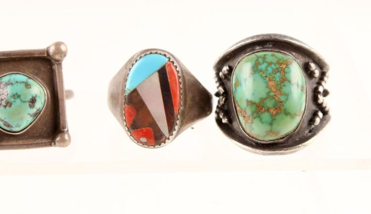 3 mens sterling silver turquoise rings