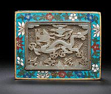 A JADE-INSET CLOISONNE ENAMEL BOX AND COVER
