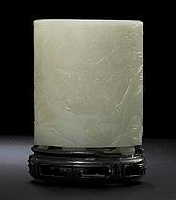 A CARVED WHITE JADE BRUSHPOT, BI TONG