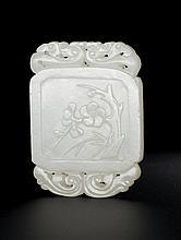 A WHITE JADE PLAQUE