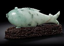 A JADEITE FISH-FORM BOX AND COVER