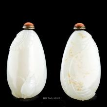 A CHINESE WHITE JADE BEETLE SNUFF BOTTLE