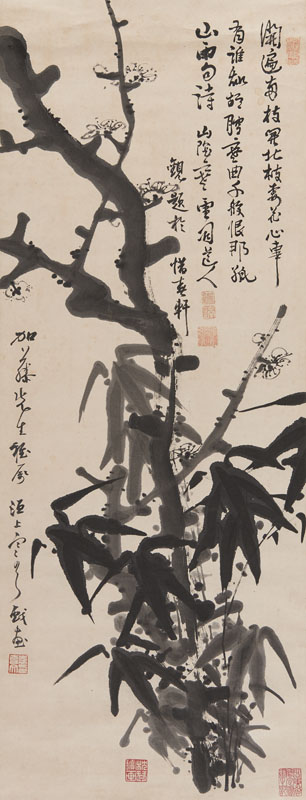 A CHINESE PAINTING OF PRUNUS TREE AND BAMBOO