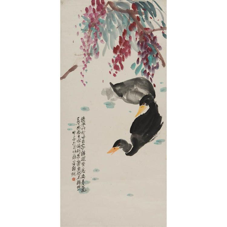 A Chinese Painting Of Double Ducks
