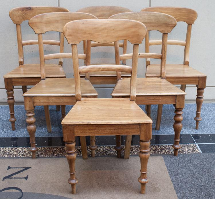 Set of Six Scottish Pitch Pine Side Chairs