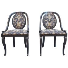 Pair of Black Lacquer Spoon Back Chairs