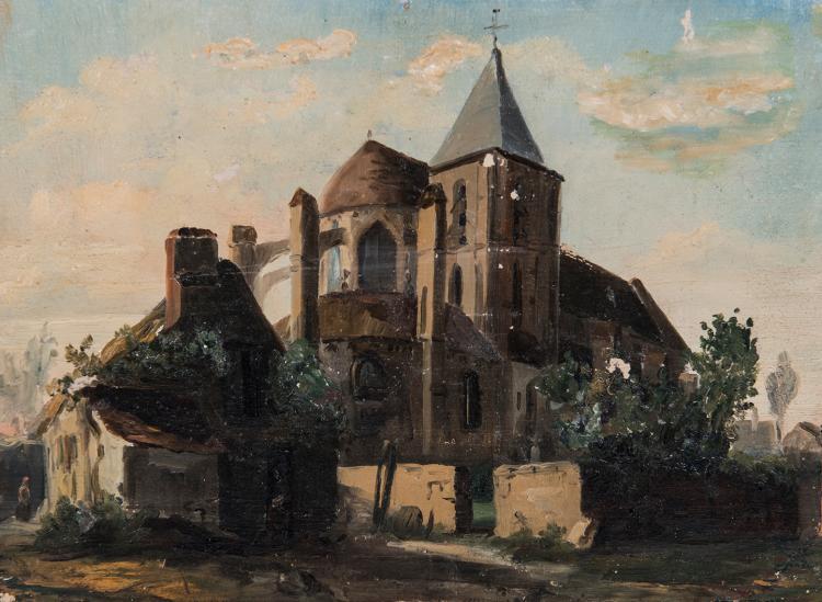 Léon Auguste MELLE (1816-1889)  Église aux environs de Caen