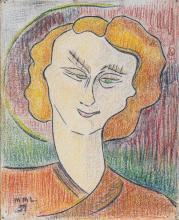Maurice Léonce SAVIN (1905-1978) Ensemble de trois portraits dont une saint Barbe (titré au dos) et un de